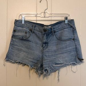 FREE PEOPLE Distressed Jean Shorts 28